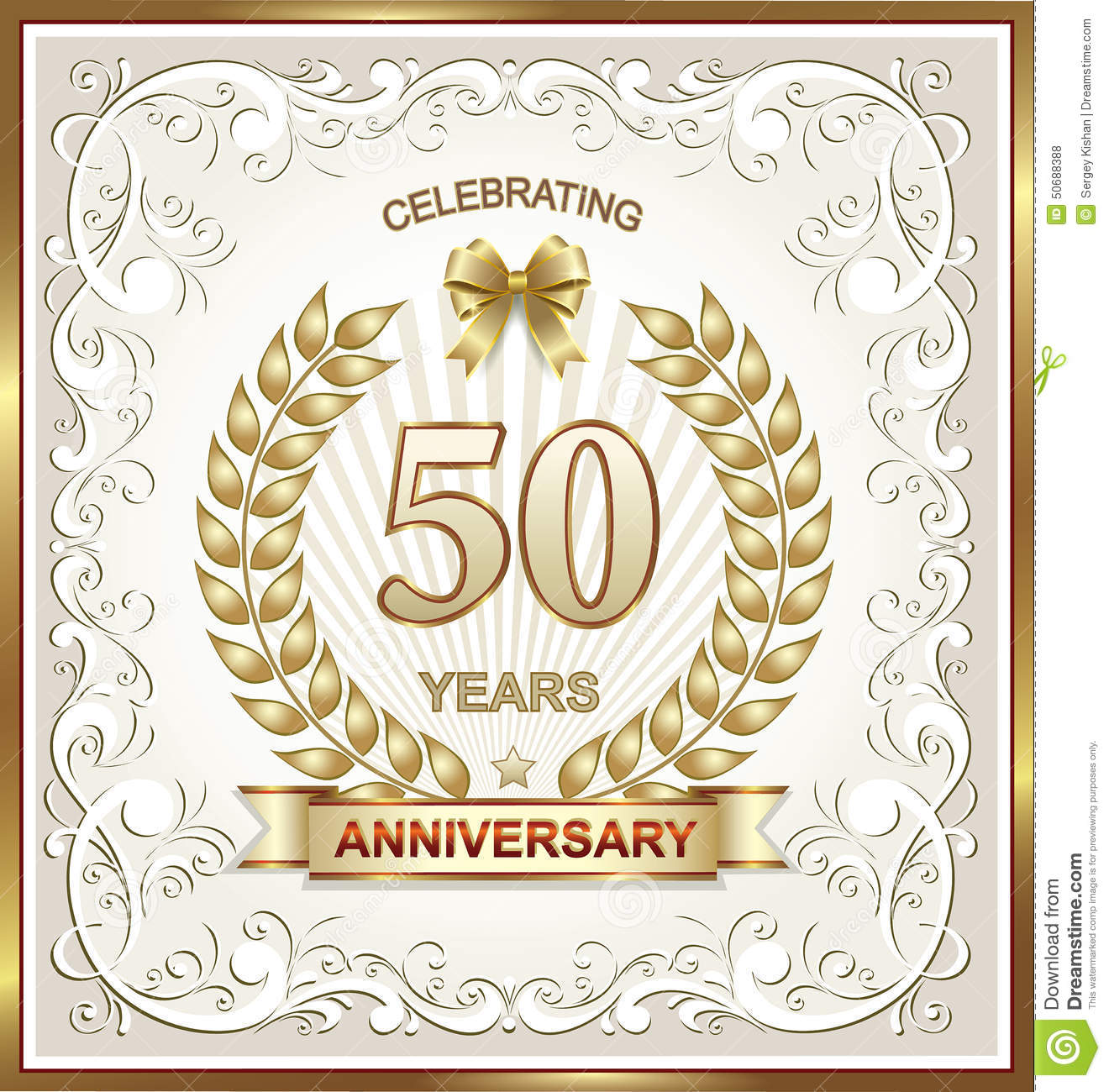 Greeting card with 50 anniversary stock vector illustration of golden 50th wedding anniversary gift card m4hsunfo