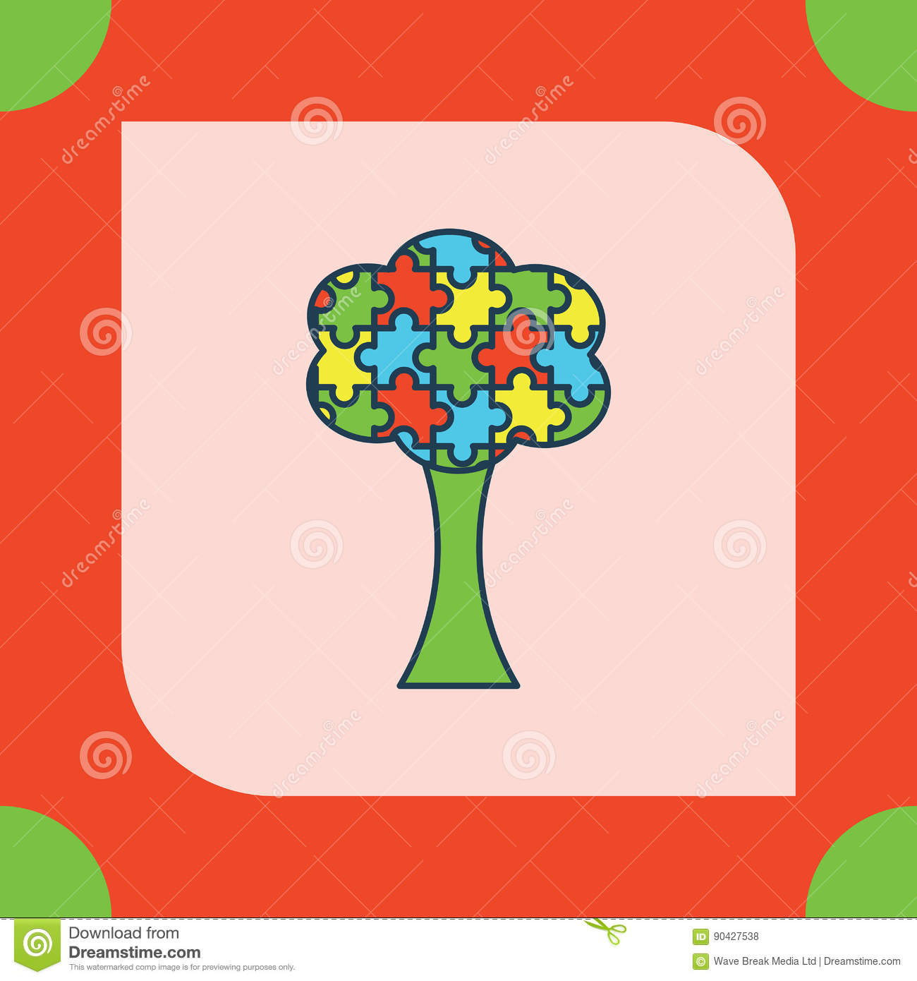 Greeting Card With Autism Tree Symbol Stock Vector Illustration Of