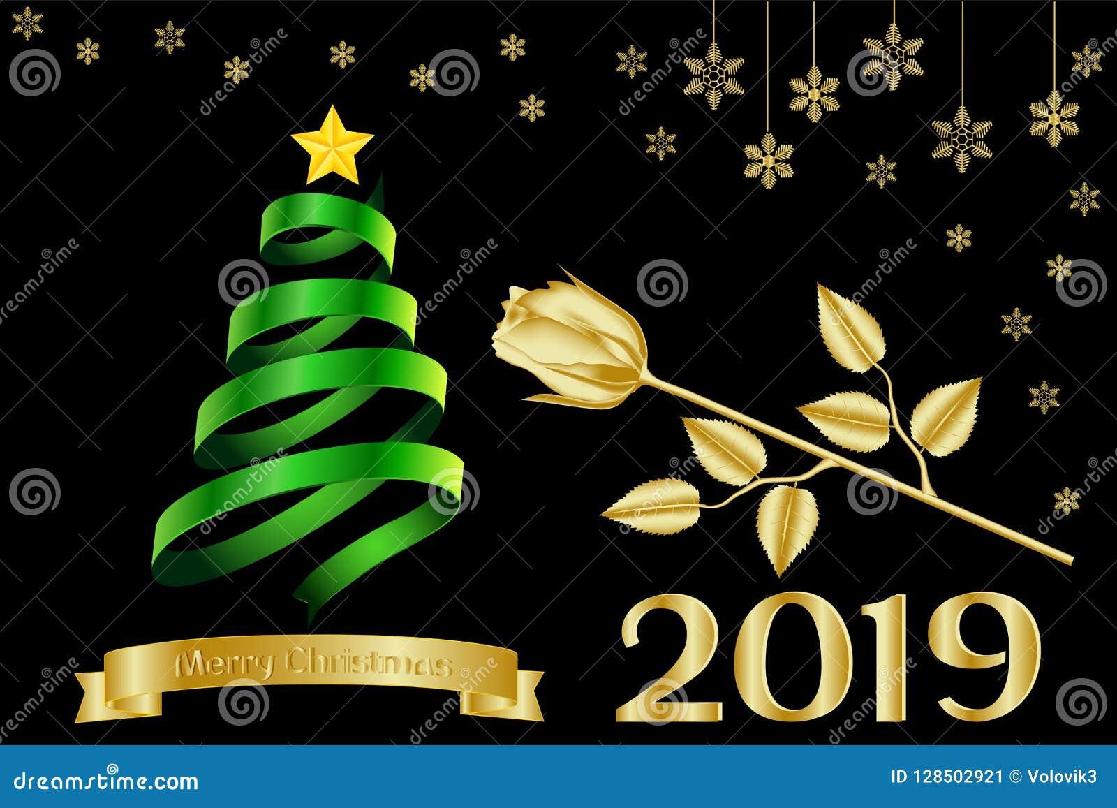 Merry Christmas 2019.Greeting Card Banner Calendar With A Golden Inscription