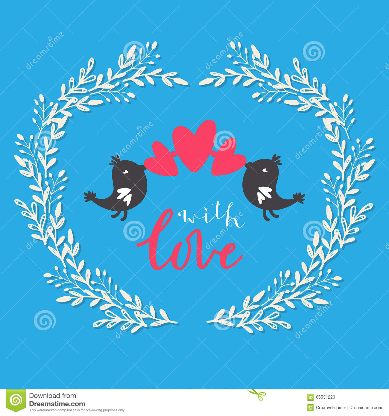 Greeting Card With Birds Hearts And With Love Message 1 Vector