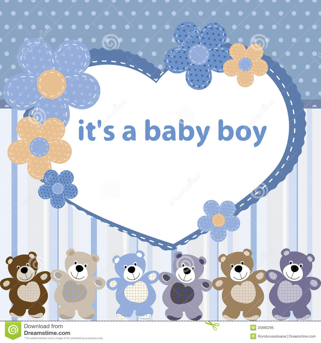 greeting card with the birth of a baby boy color funny