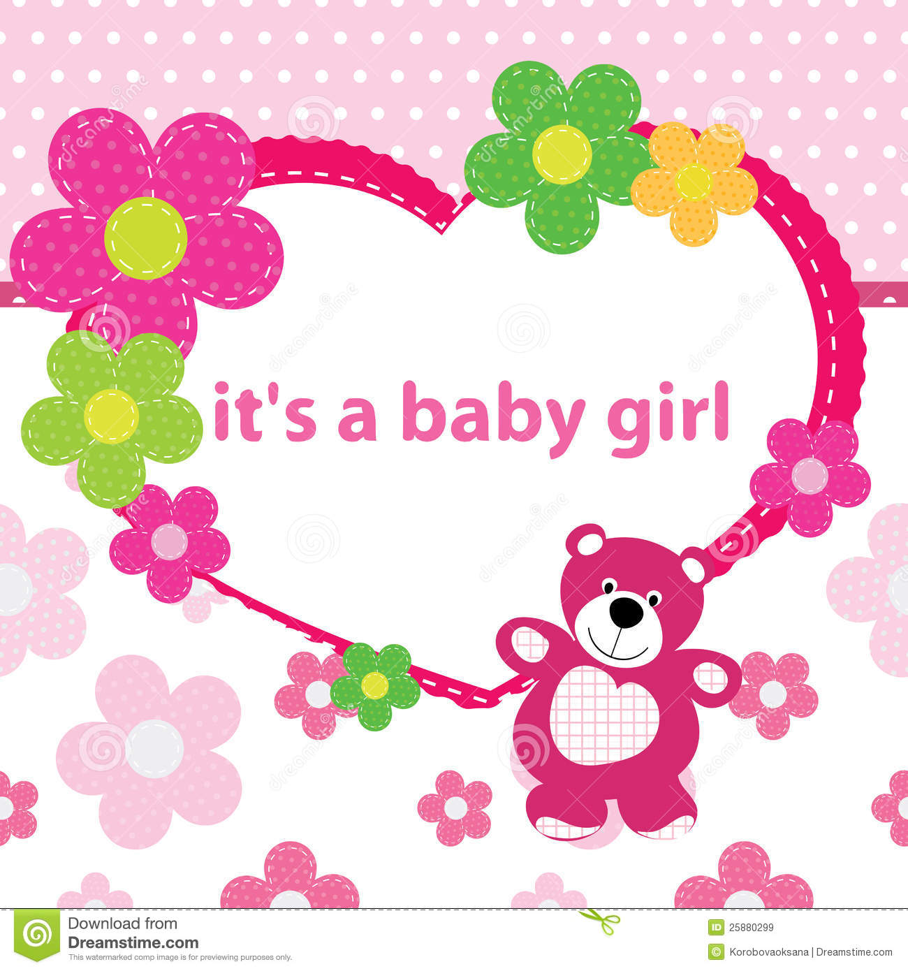 Greeting card with the birth of a baby girl stock vector greeting card with the birth of a baby girl stock illustration m4hsunfo
