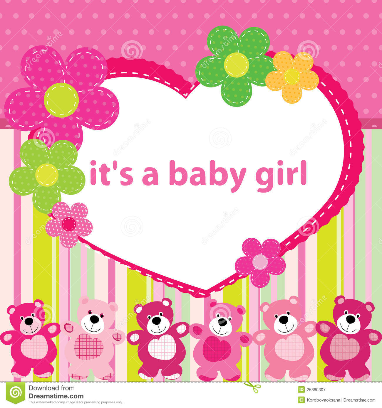 Greeting Card With The Birth Of A Baby Girl Stock Vector ...