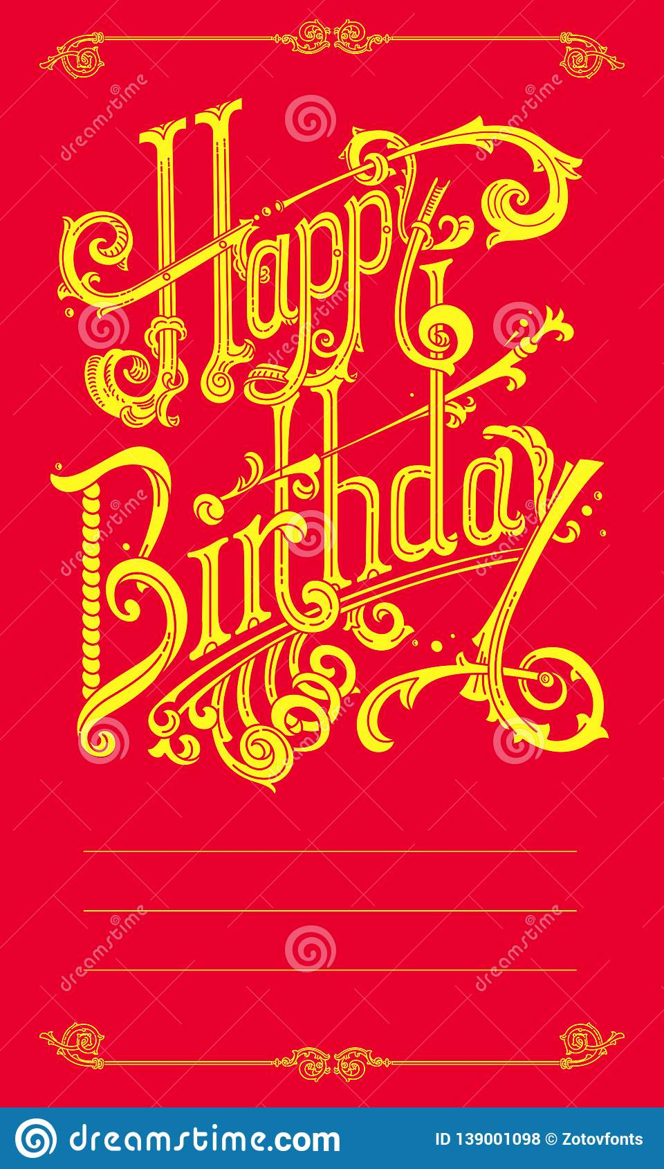 Happy Birthday Vintage Lettering Logos Stock Vector Illustration