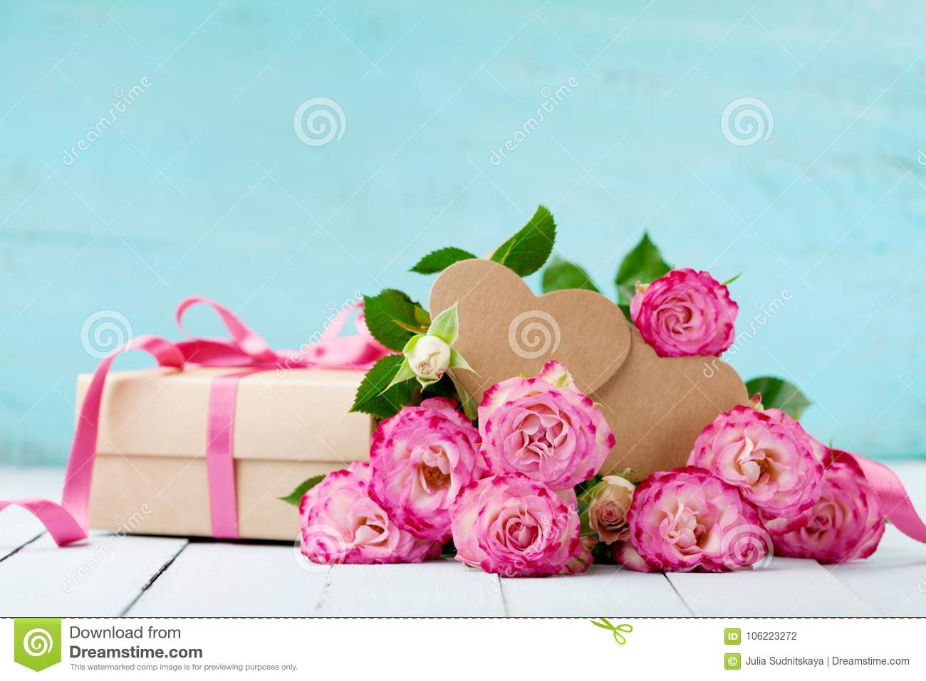 Greeting Card For Birthday Woman Or Mothers Day Pink Rose Flowers And Gift Box