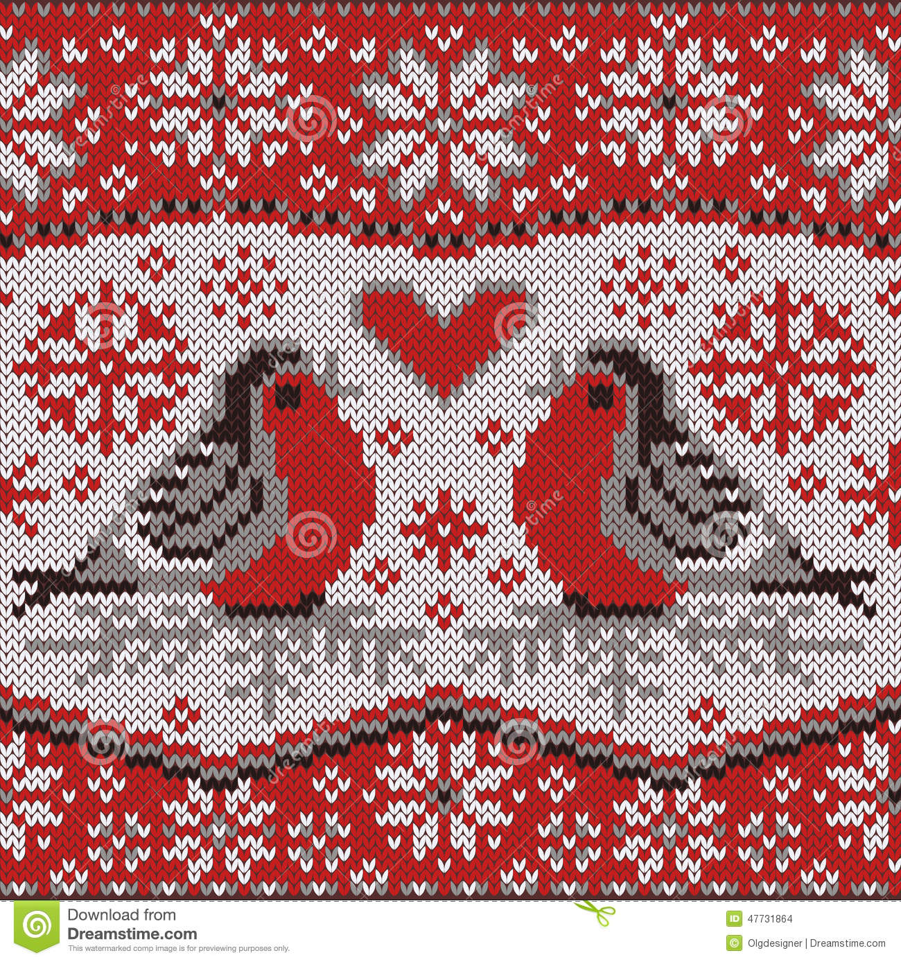 Free Nordic Knitting Patterns : Greeting Card With Bullfinches, Nordic Knitted Pattern Stock Vector - Image: ...