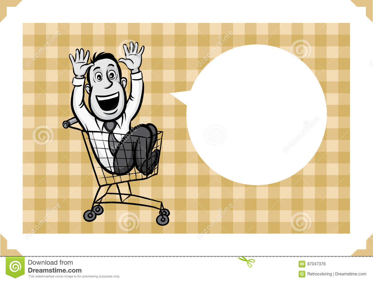 Greeting card with businessman riding in a shopping cart sarcastic meme layered vector illustration