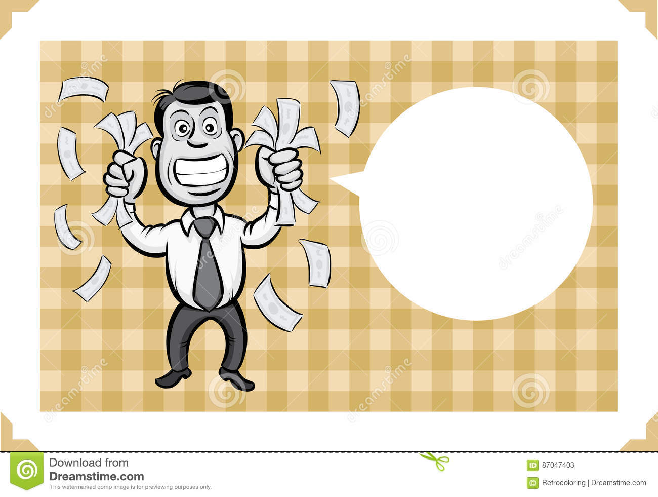 Greeting card with businessman shaking money sarcastic meme layered vector illustration personalize it with your own humorous message