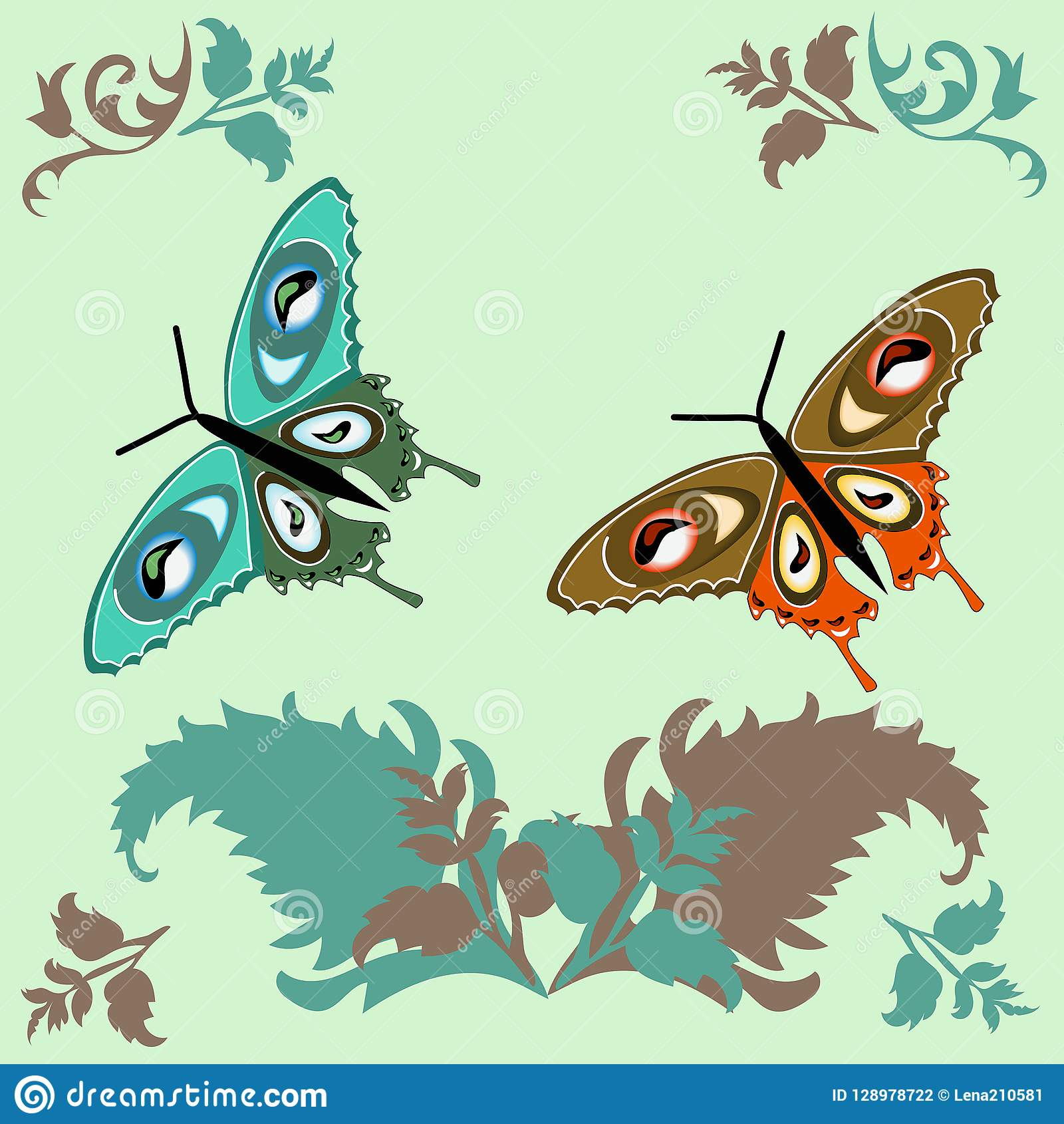 Greeting Card Butterfly On A Light Green Background Nature Greens