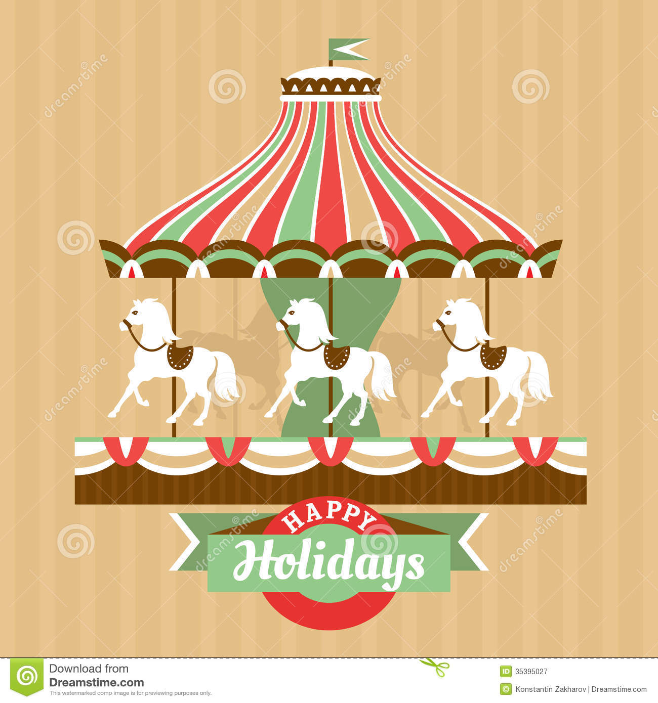 Greeting Card With Carousel Stock Vector Illustration Of Park
