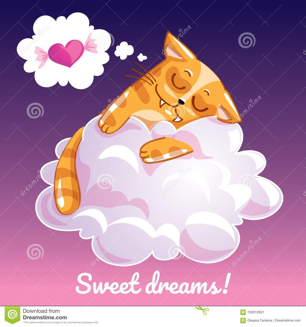 Greeting Card With A Cartoon Cat On The Cloud Stock Vector