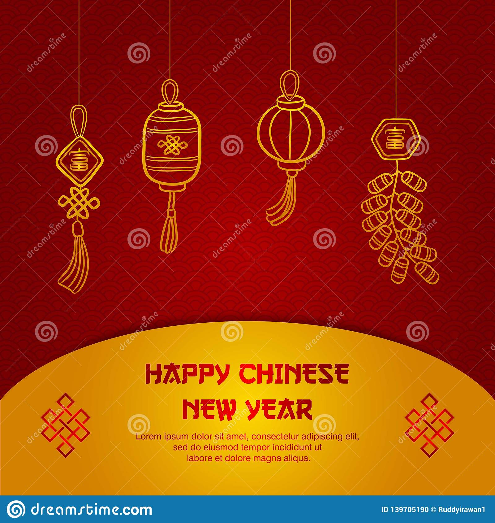 Greeting card chinese new year , poster or banner design, chinese font is mean lucrative
