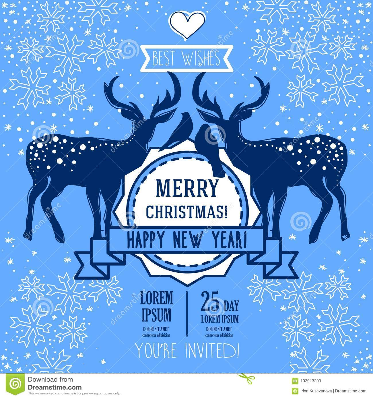 greeting card for christmas and happy new year with couple of christmas deer and birds