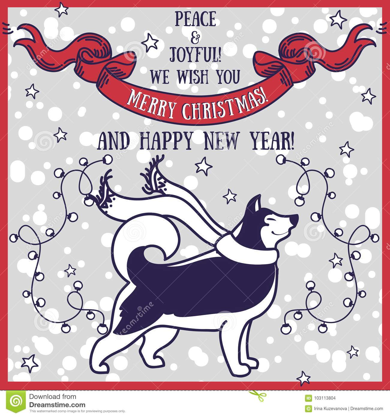 Greeting Card For Christmas And Happy New Year With Cute ...