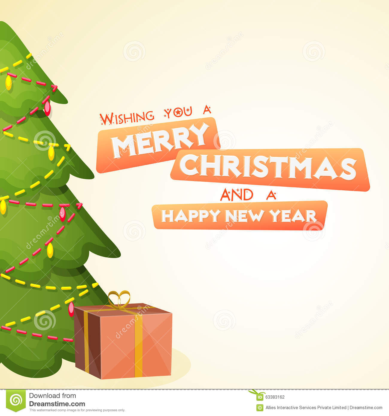 Greeting Card For Christmas And New Year. Stock Illustration ...