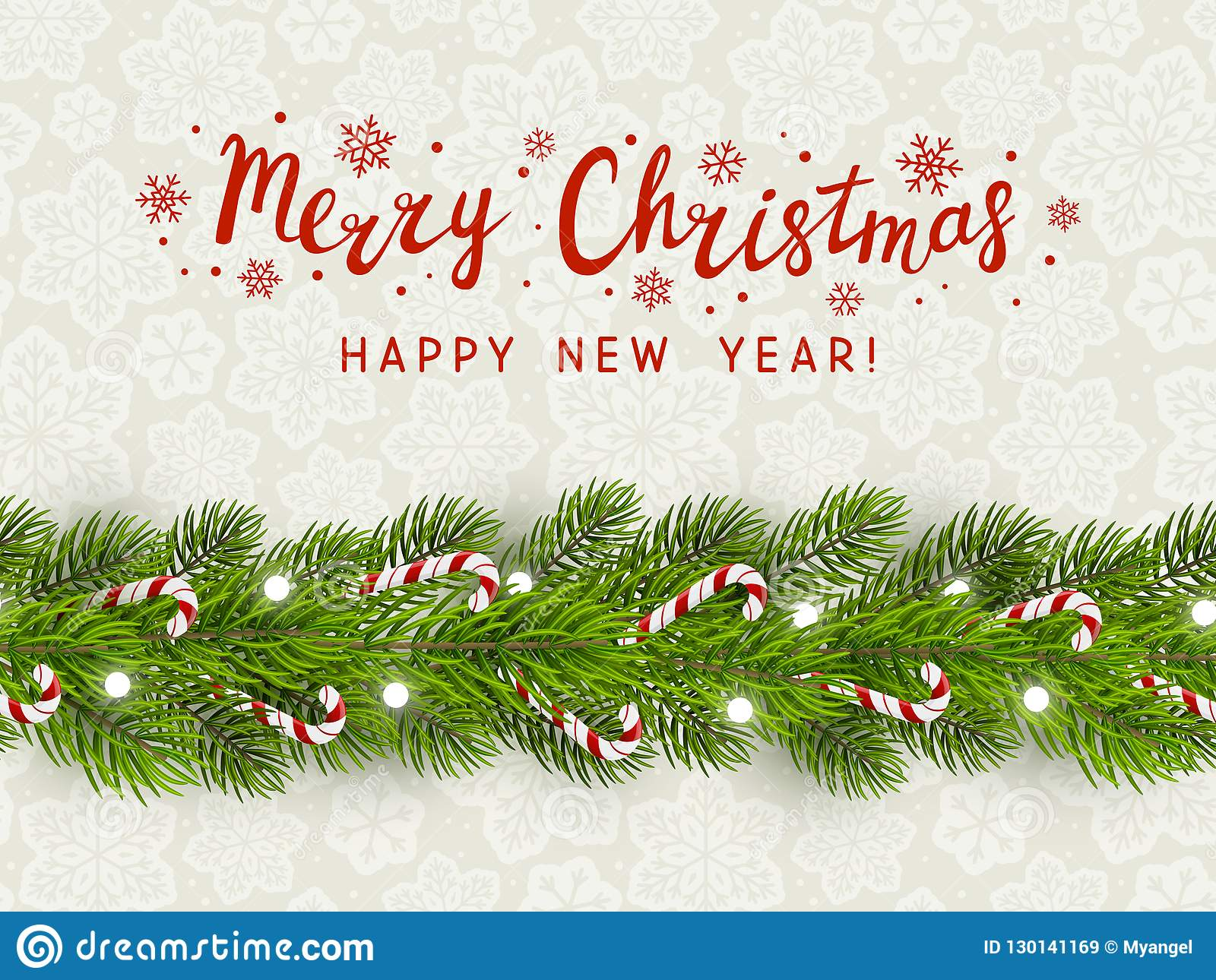 greeting card with christmas tree border stock vector