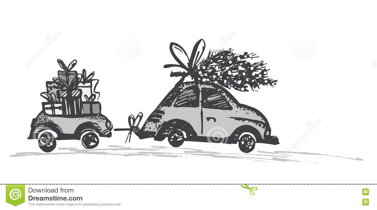 greeting card with christmas tree on car roof and car trailer with xmas gifts - Black Christmas Trailer