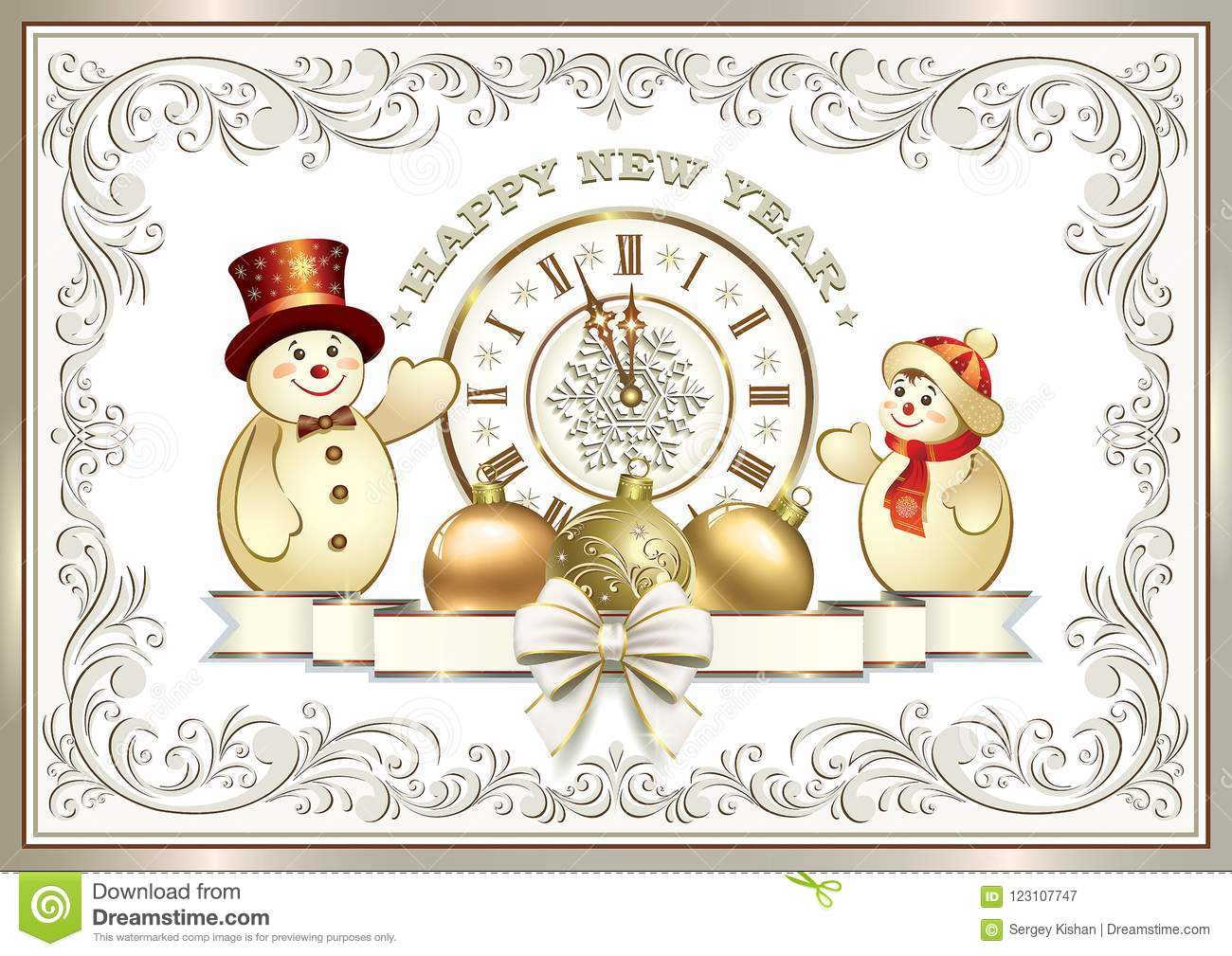 2019 Happy New Year. Greeting Card With A Clock And ...