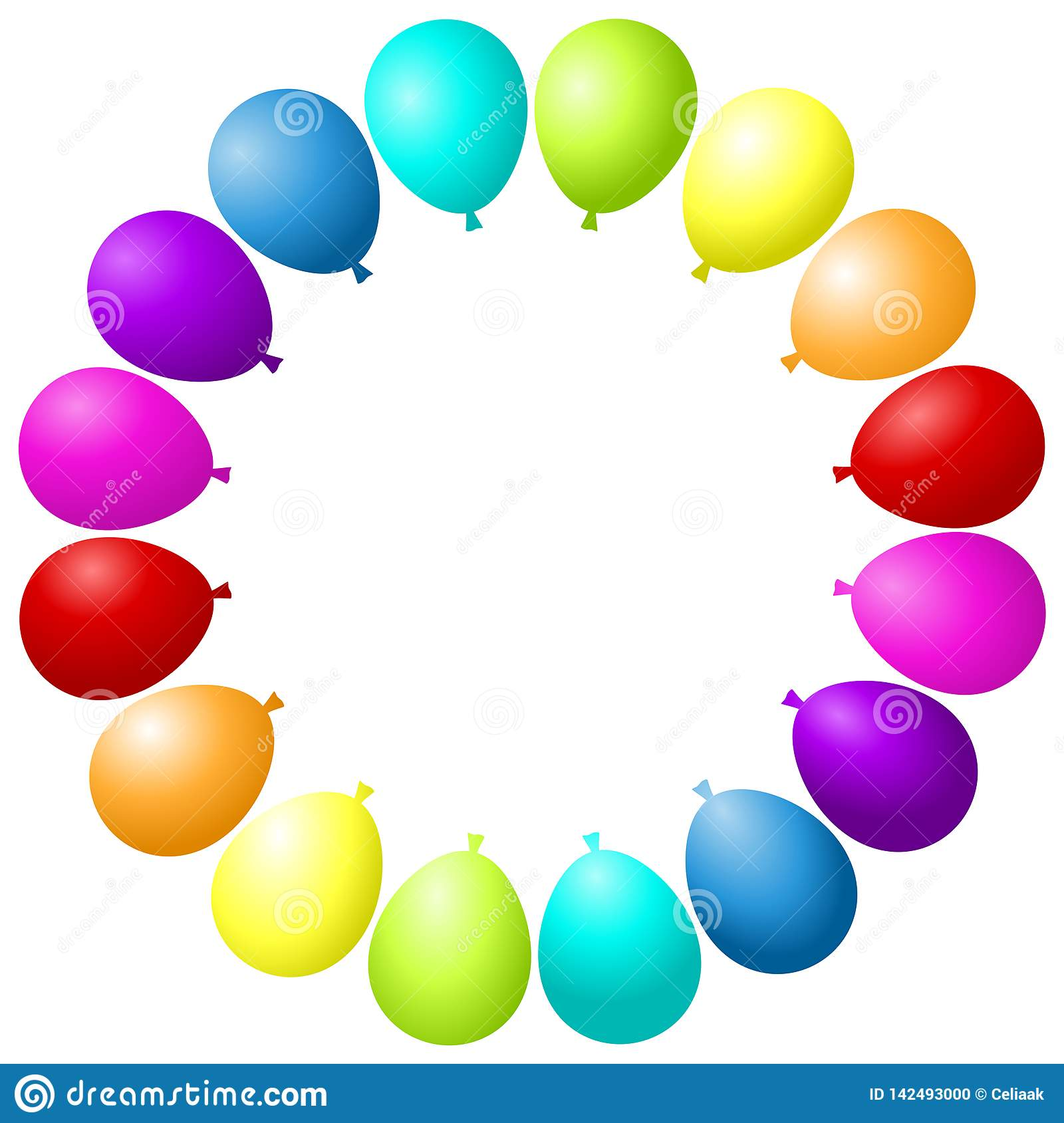Balloons Frame Party Colorful Rainbow