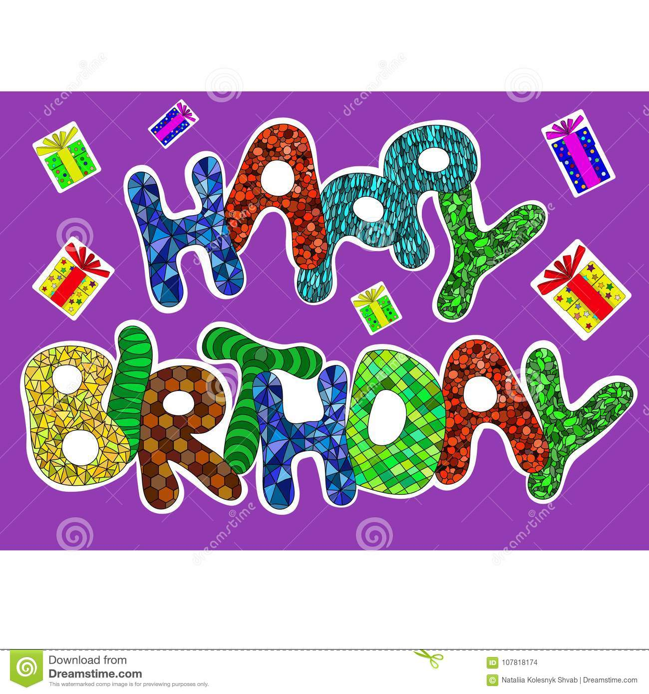 Happy Birthday Words Set For Greeting Card Stock Vector