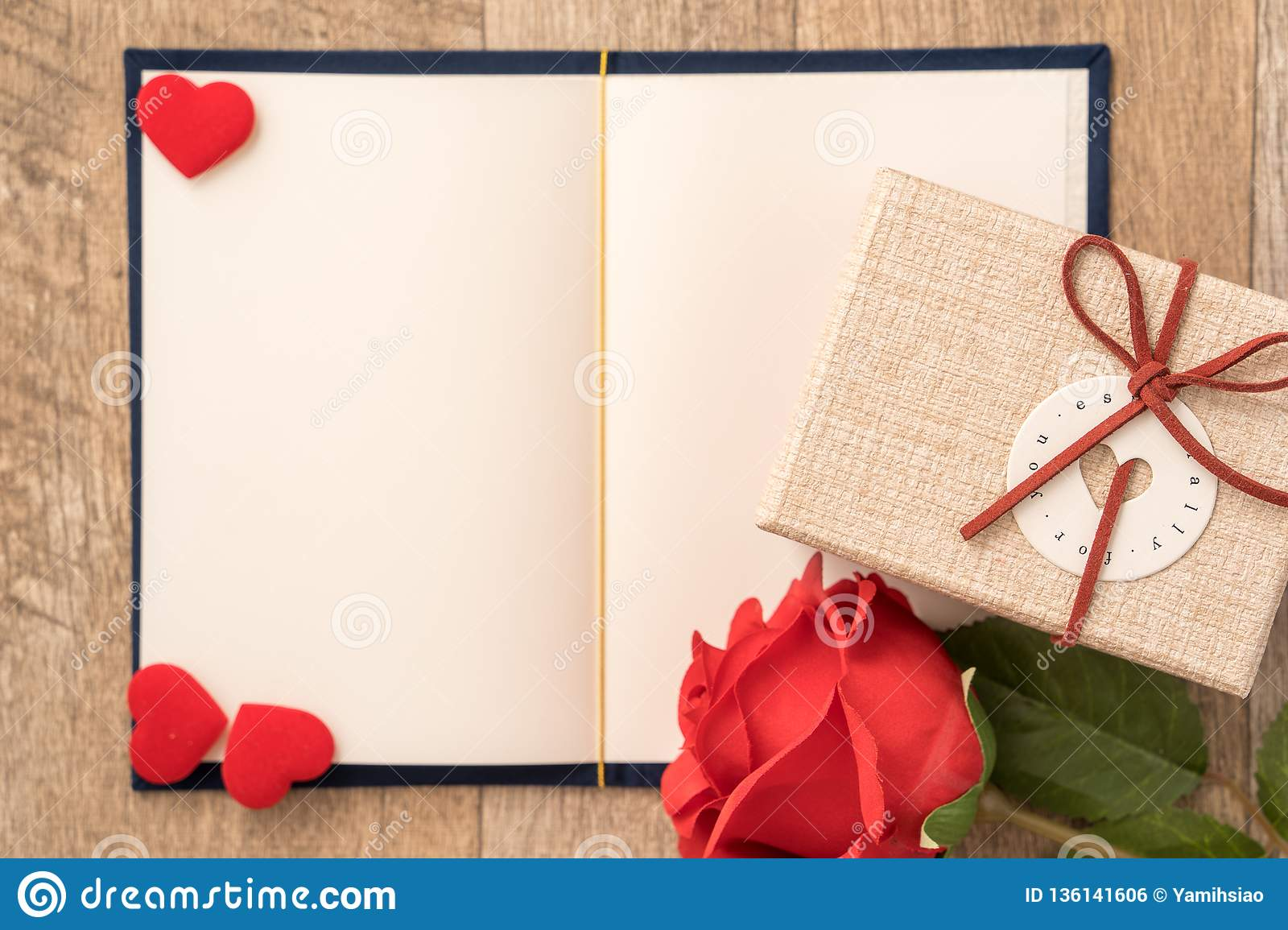 Greeting card concept of giving present and Valentine`s, anniversary, mother`s day and birthday surprise