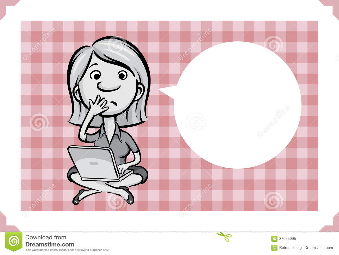 Greeting card with confused woman sitting with laptop computer greeting card with confused woman sitting with laptop computer m4hsunfo