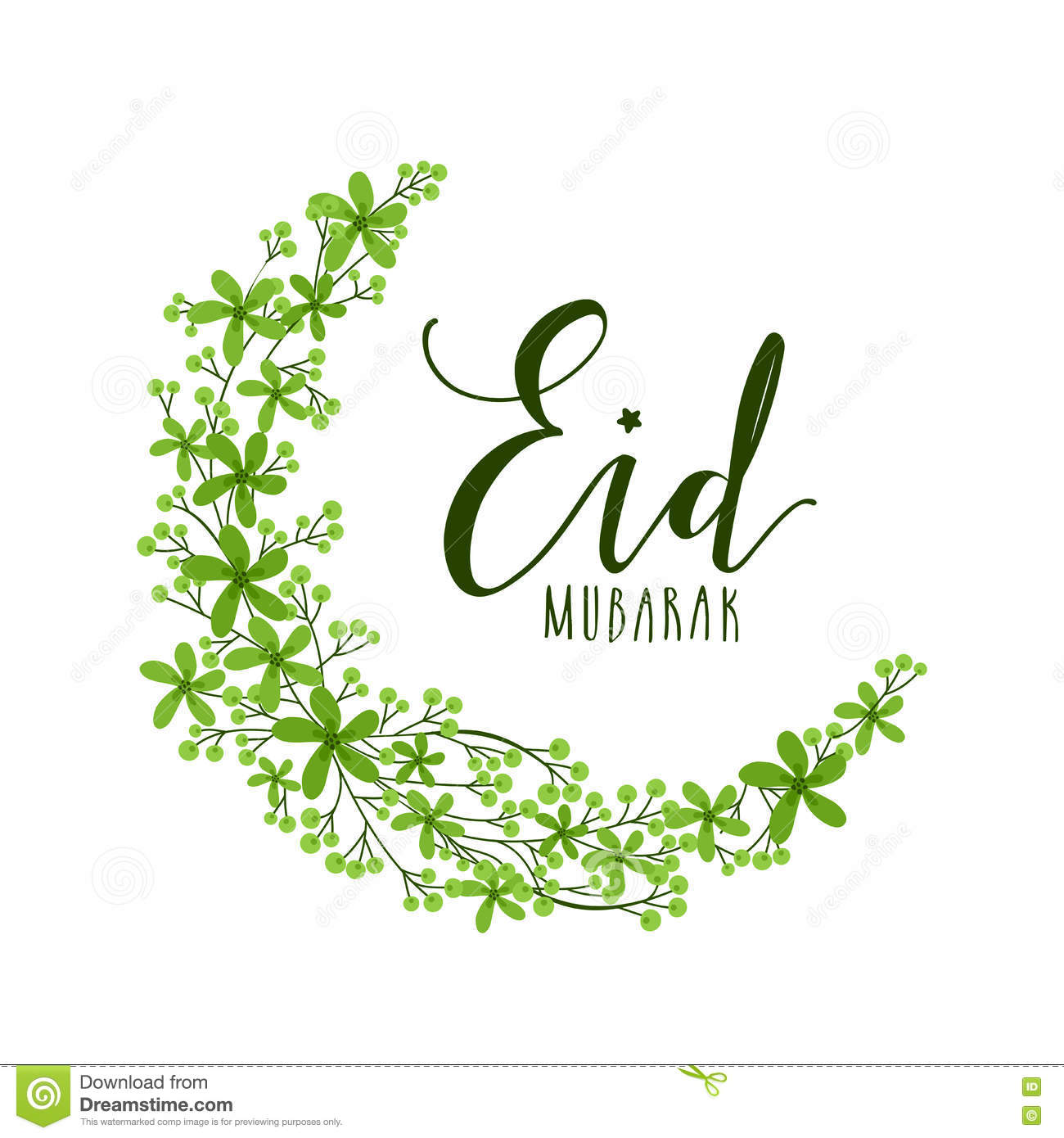 Greeting Card Creative Moon Eid Mubarak Crescent Made Beautiful Green Flowers Elegant Design Islamic Famous Festival With For