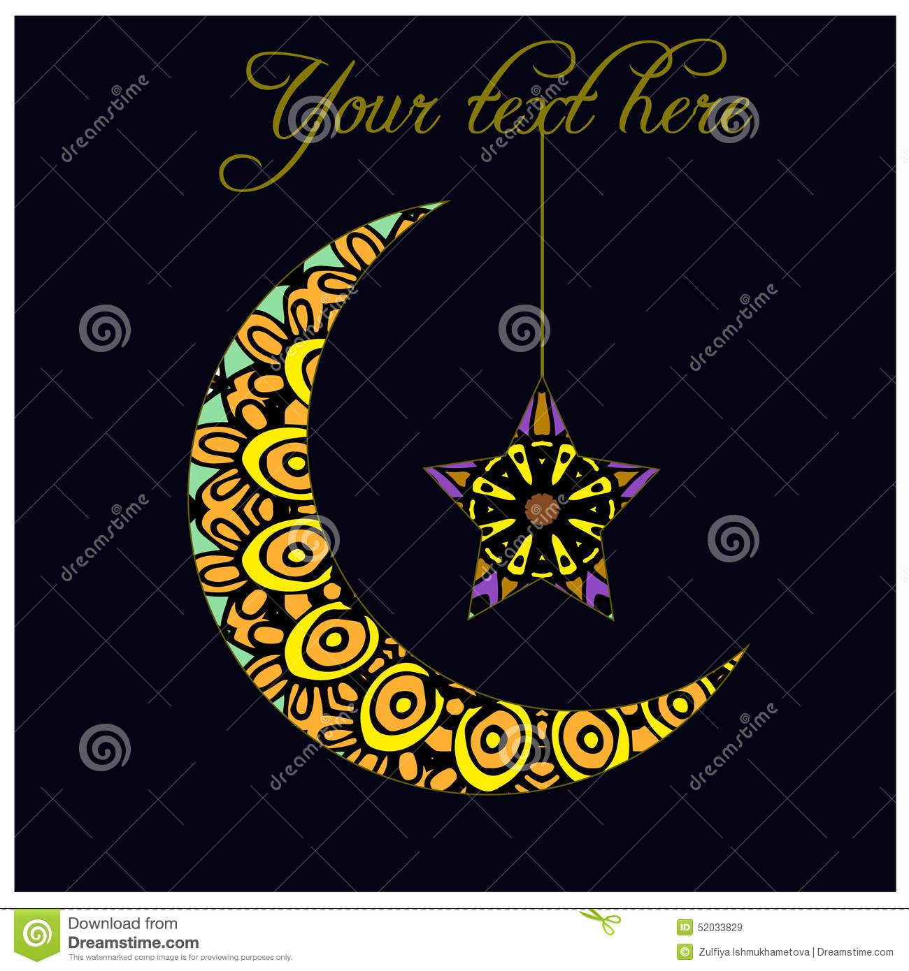 Greeting Card With Crescent Moon - A Symbol Of Islam Stock