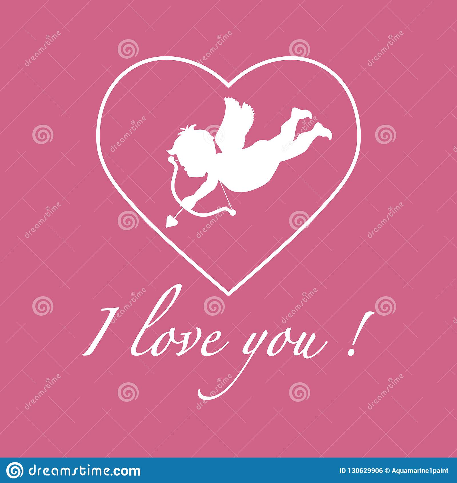 Greeting Card With Cupid Archery  Valentine's Day  Stock