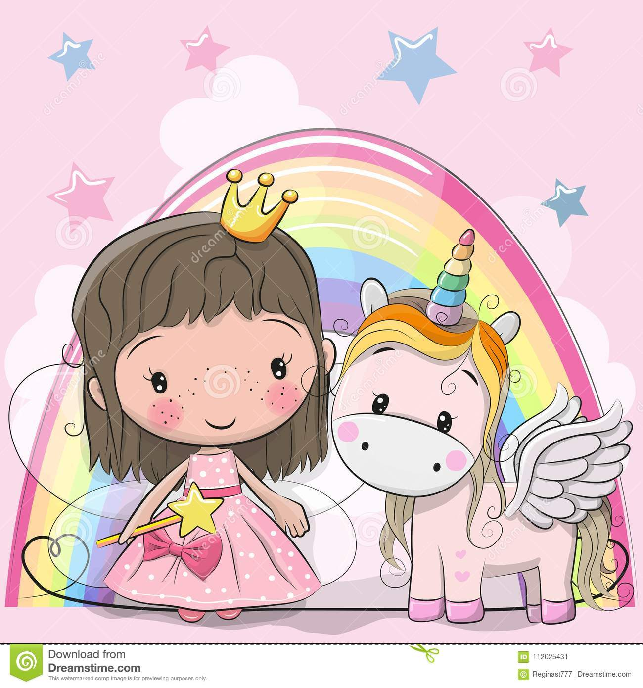Greeting Card with fairy tale Princess and Unicorn