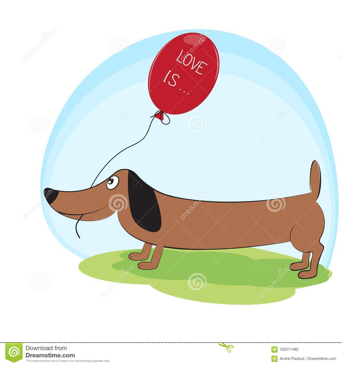 Greeting Card Cute Dog Dachshund With Balloon Stock Vector