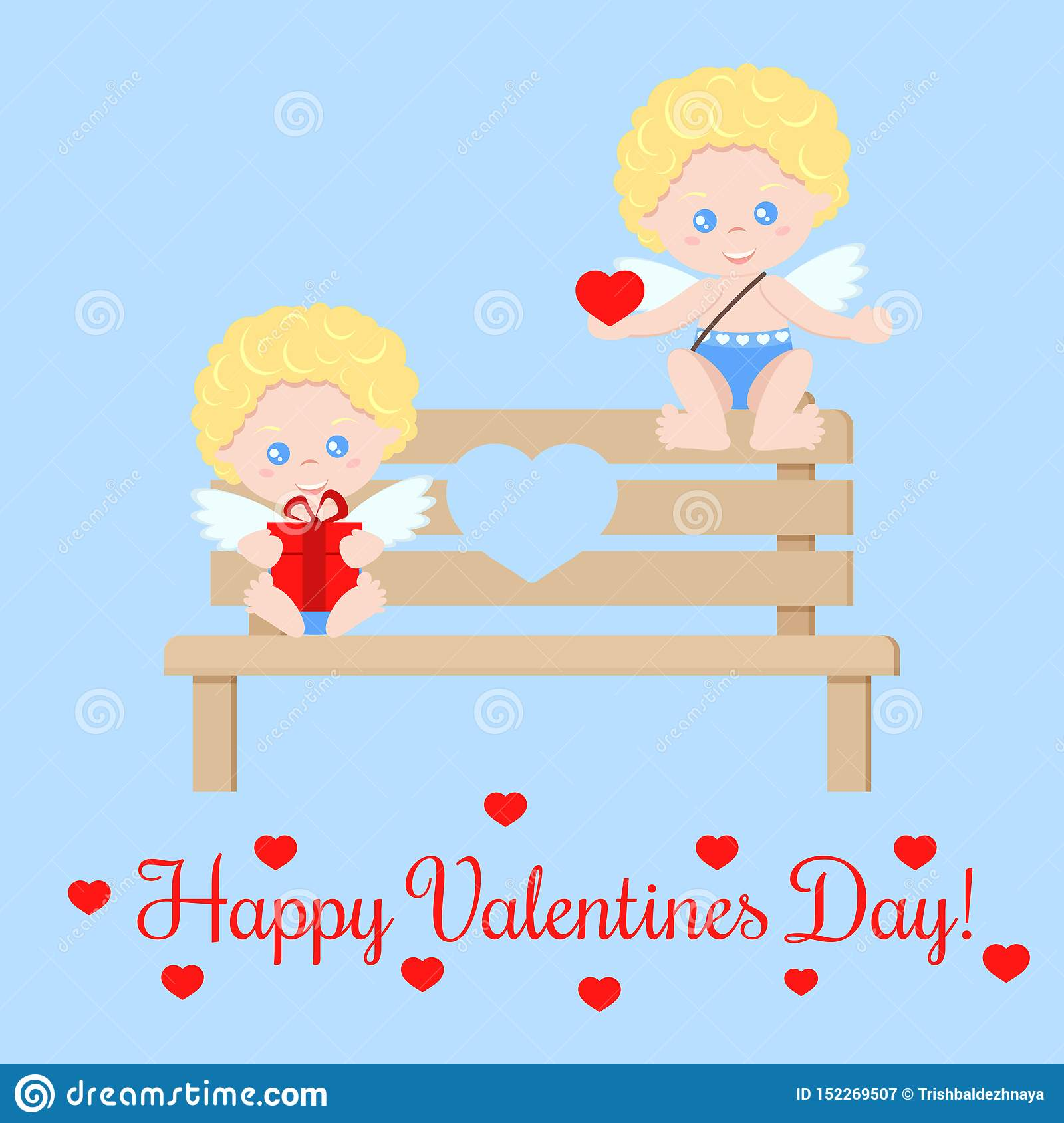 Greeting card with cute isolated romant pair of cupids with a heart and a gift