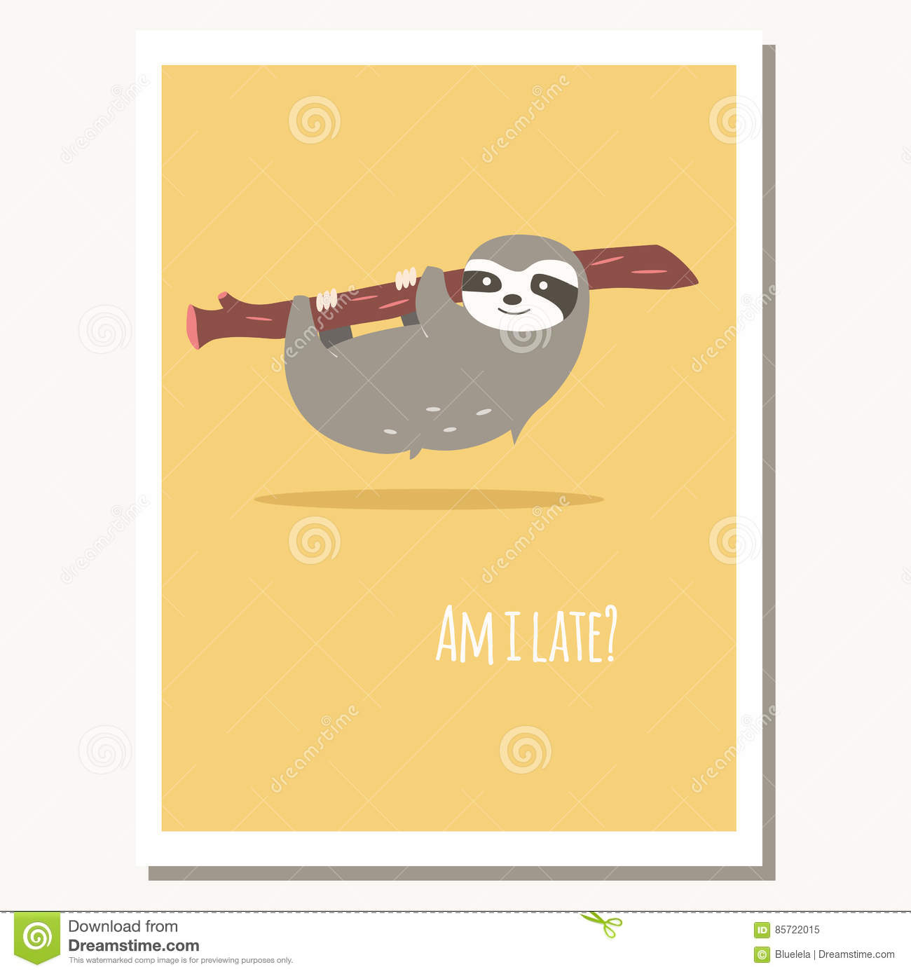 Greeting card with cute lazy sloth and text message stock vector download greeting card with cute lazy sloth and text message stock vector illustration of drawn m4hsunfo