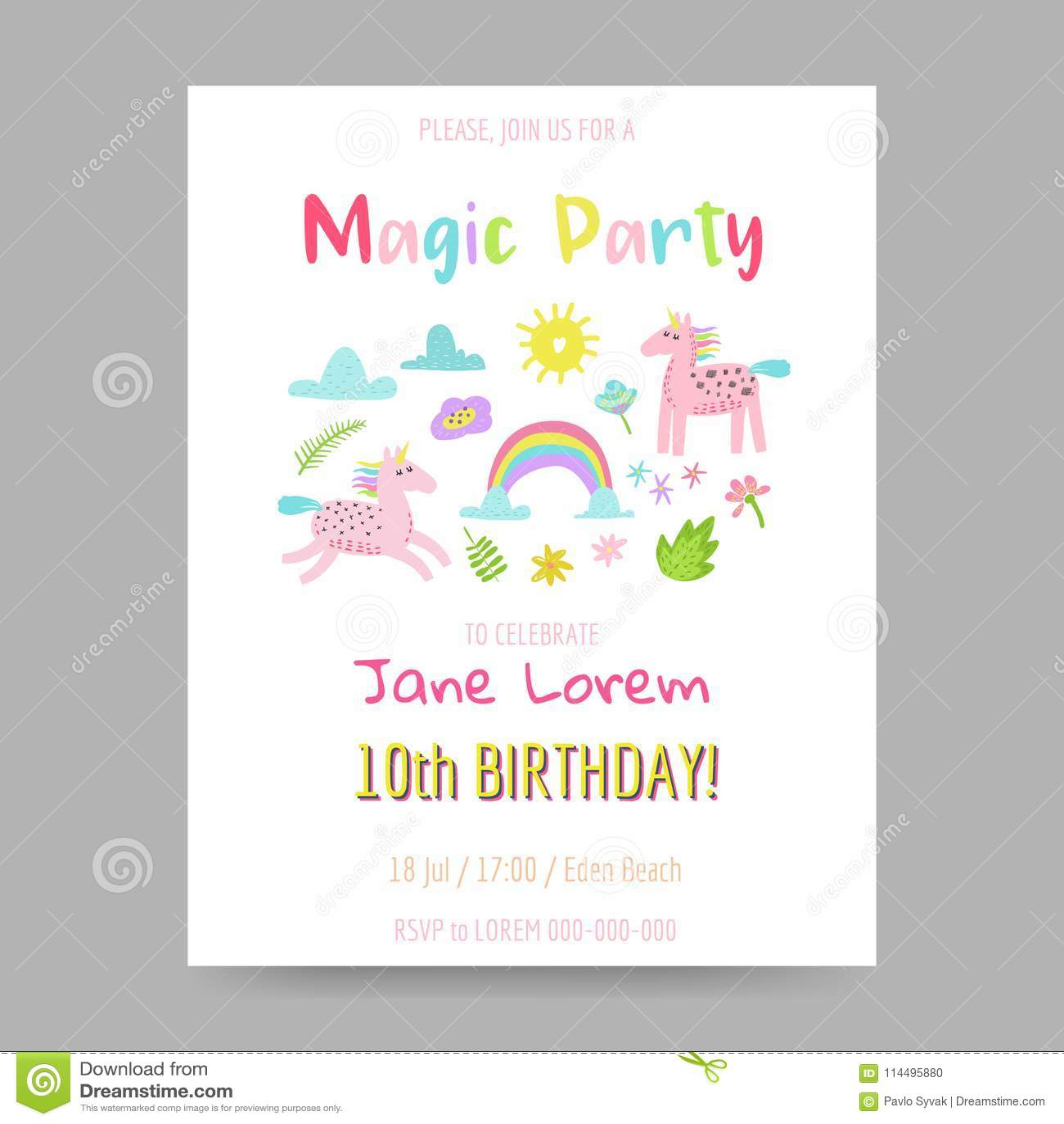 Greeting Card With Cute Magic Unicorns Rainbow And Flowers Fantasy Children Poster Happy Birthday Invitation Hand Drawn Childish Postcard