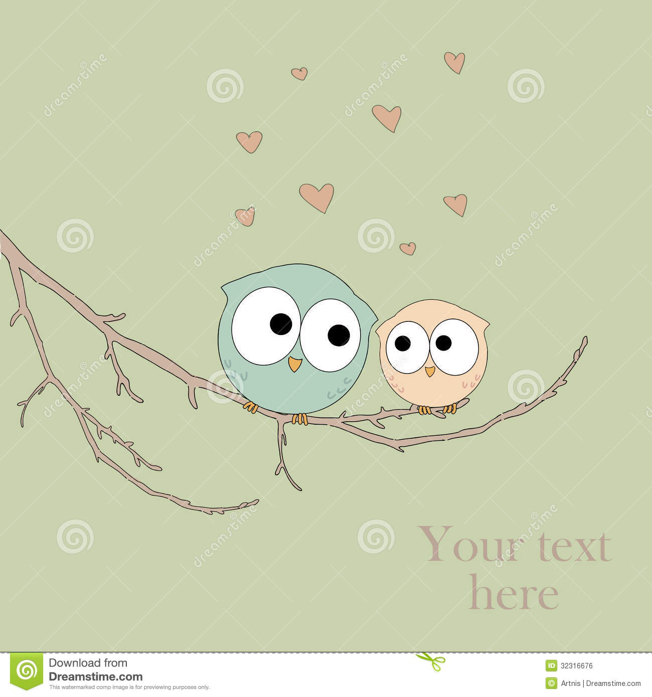 Greeting card with cute owls in love royalty free stock image image