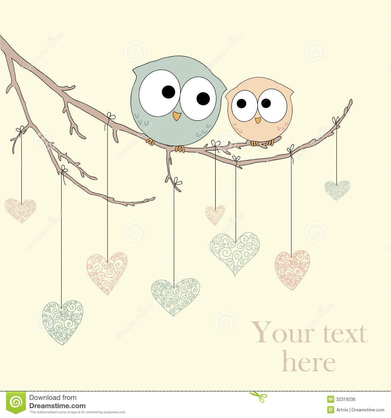 Greeting card with cute owls in love stock vector illustration of greeting card with cute owls in love background feminine m4hsunfo