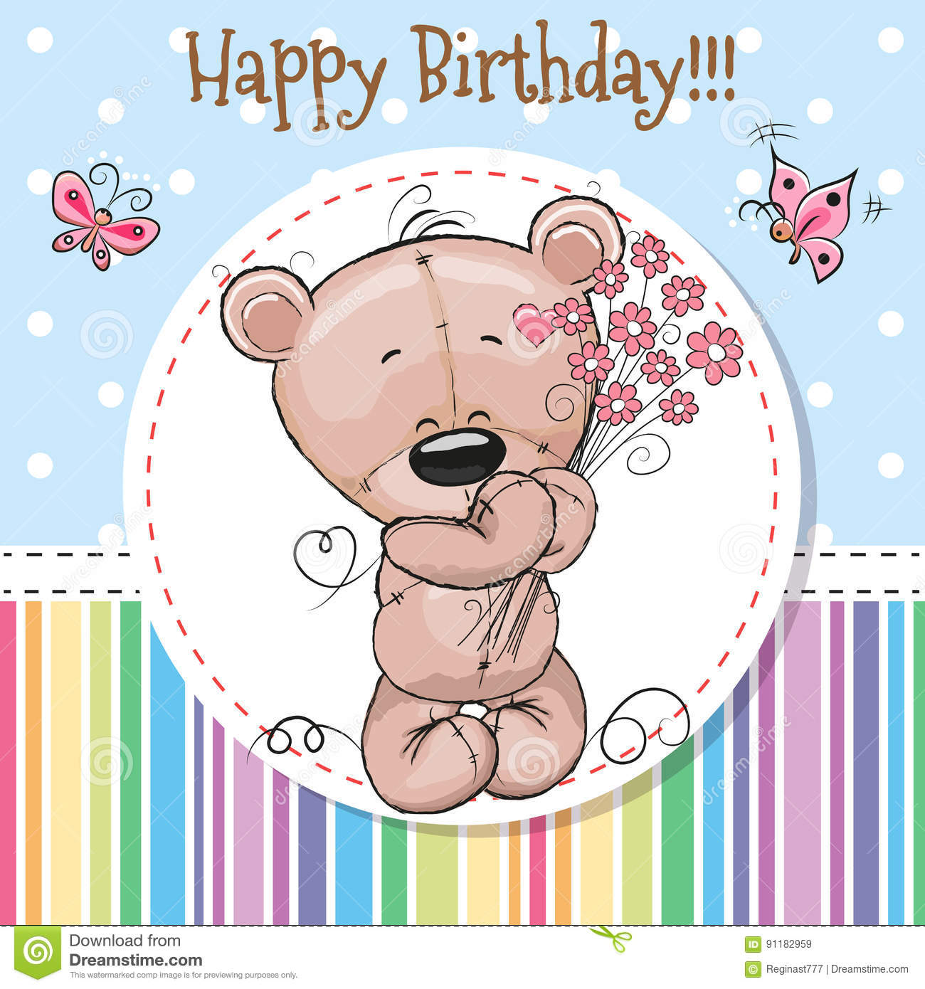 Greeting Card Cute Teddy Bear Stock Vector