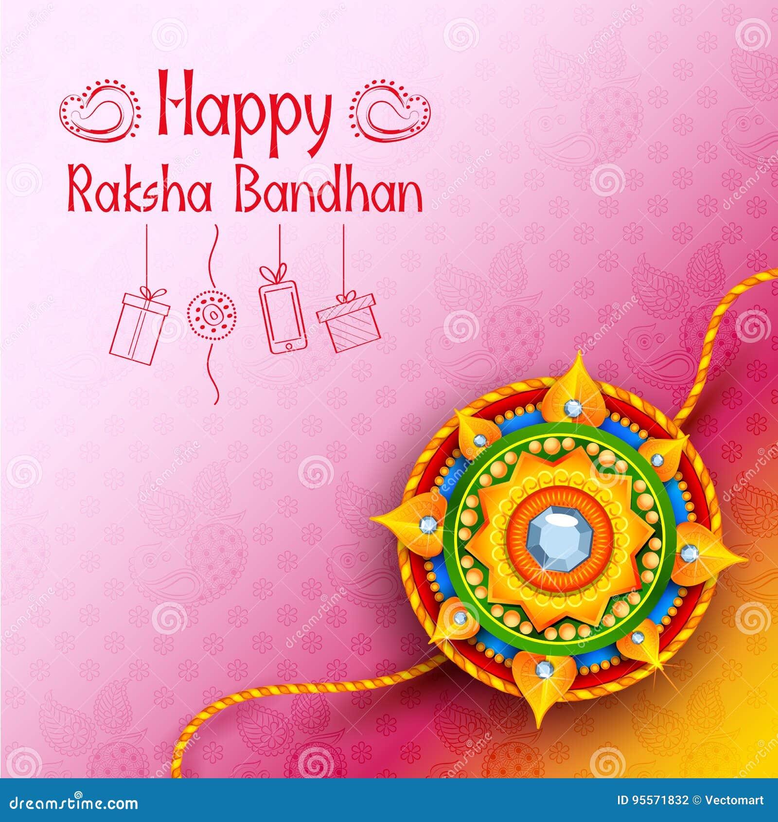 Rakhi Festival Quotes Brother: Greeting Card With Decorative Rakhi For Raksha Bandhan