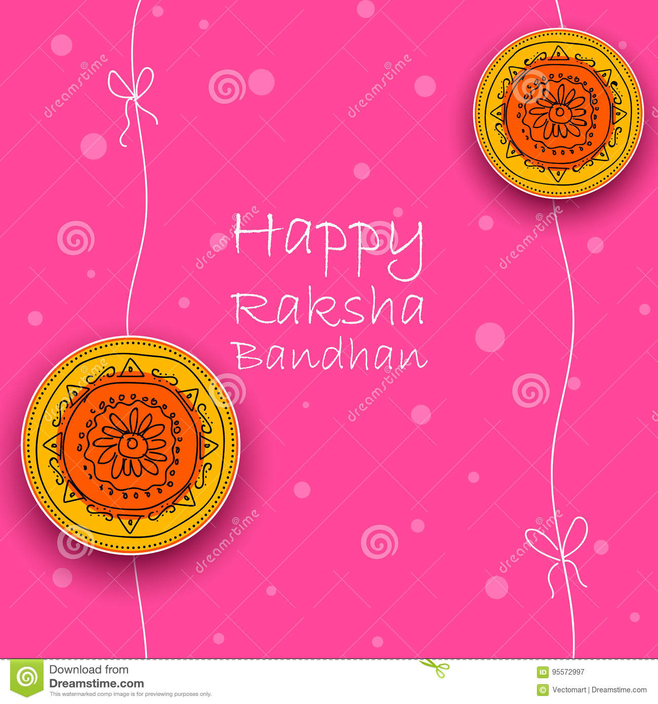 Greeting Card With Decorative Rakhi For Raksha Bandhan Background