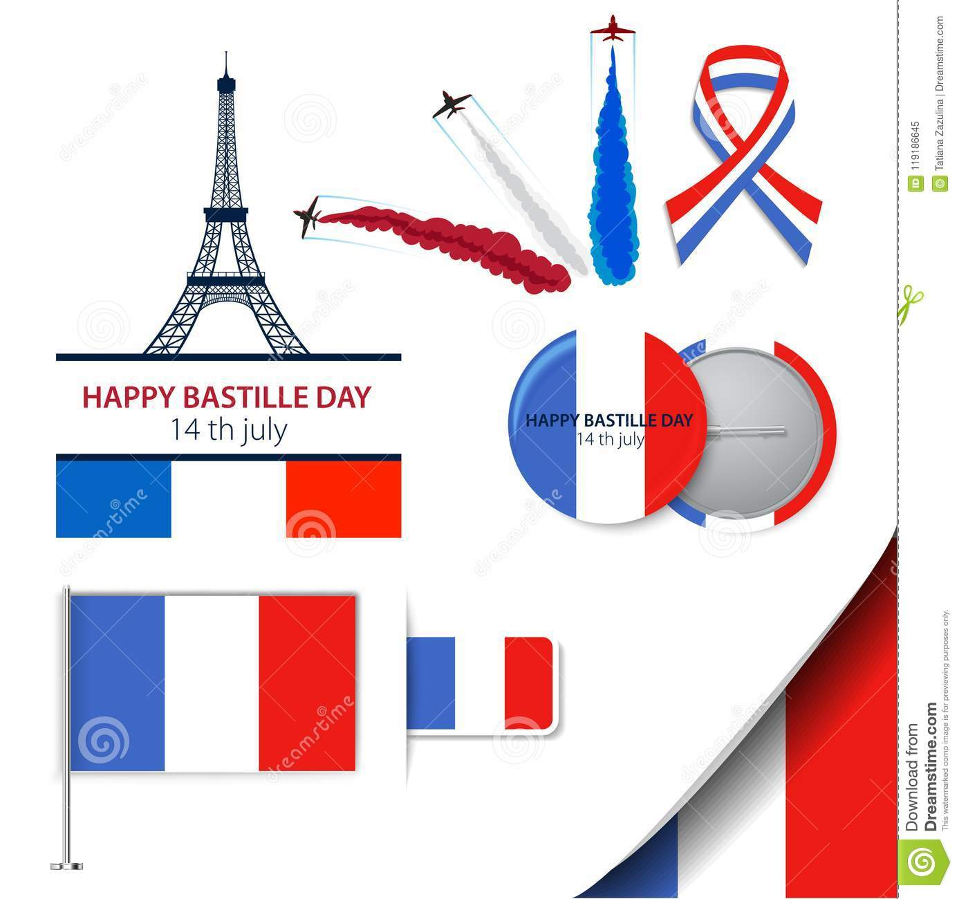 Greeting card design for The Bastille Day fourteen of july or another French holiday. Stylish vector modern illustration