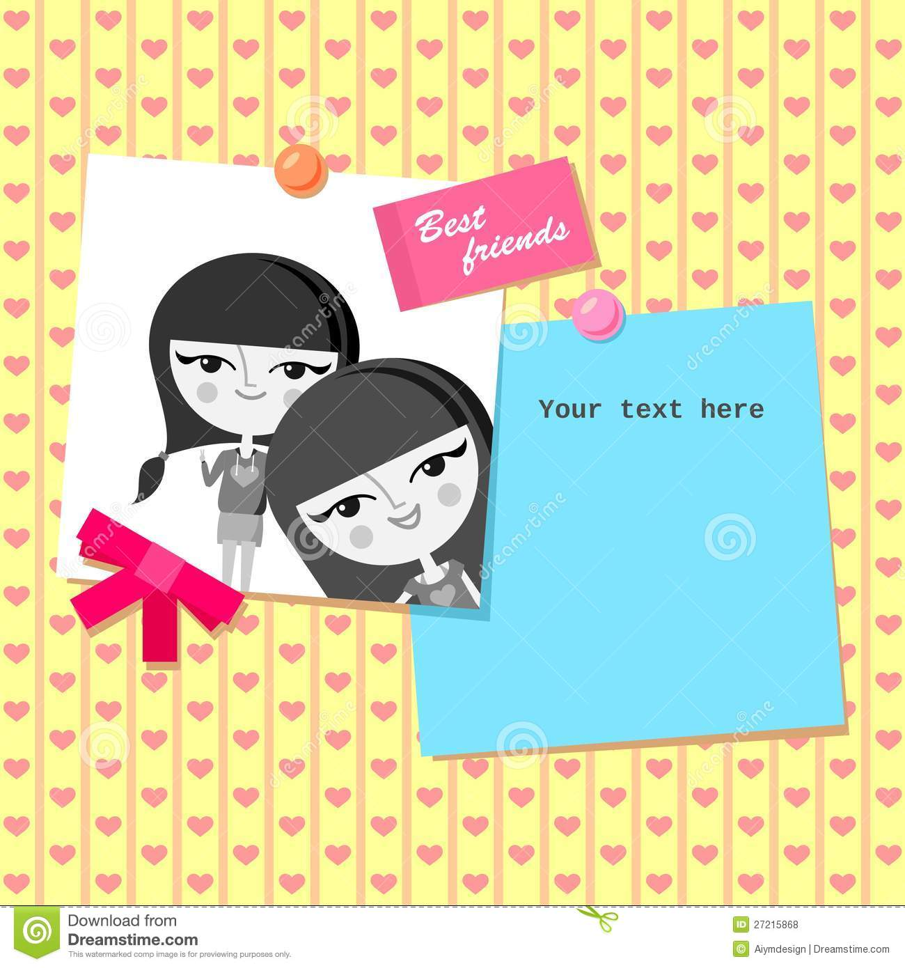 Greeting card design with best friends photo stock vector greeting card design with best friends photo royalty free stock photos kristyandbryce Image collections