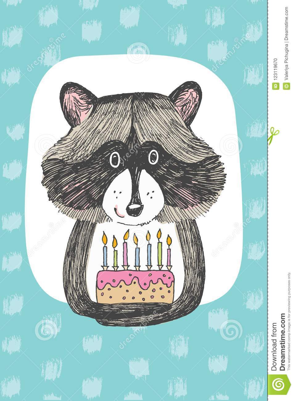 Greeting card design with cute raccoon keeps a cake happy birthday download greeting card design with cute raccoon keeps a cake happy birthday invitation template with m4hsunfo