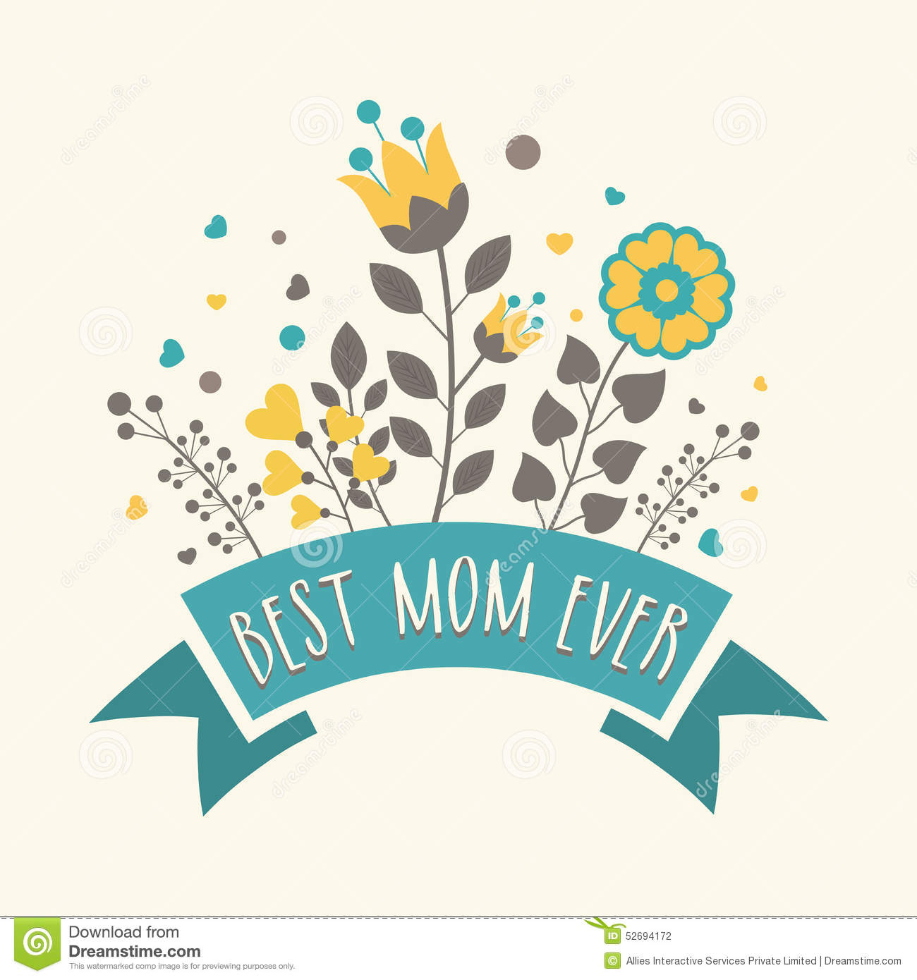 Greeting Card Design For Happy Mothers Day Celebration
