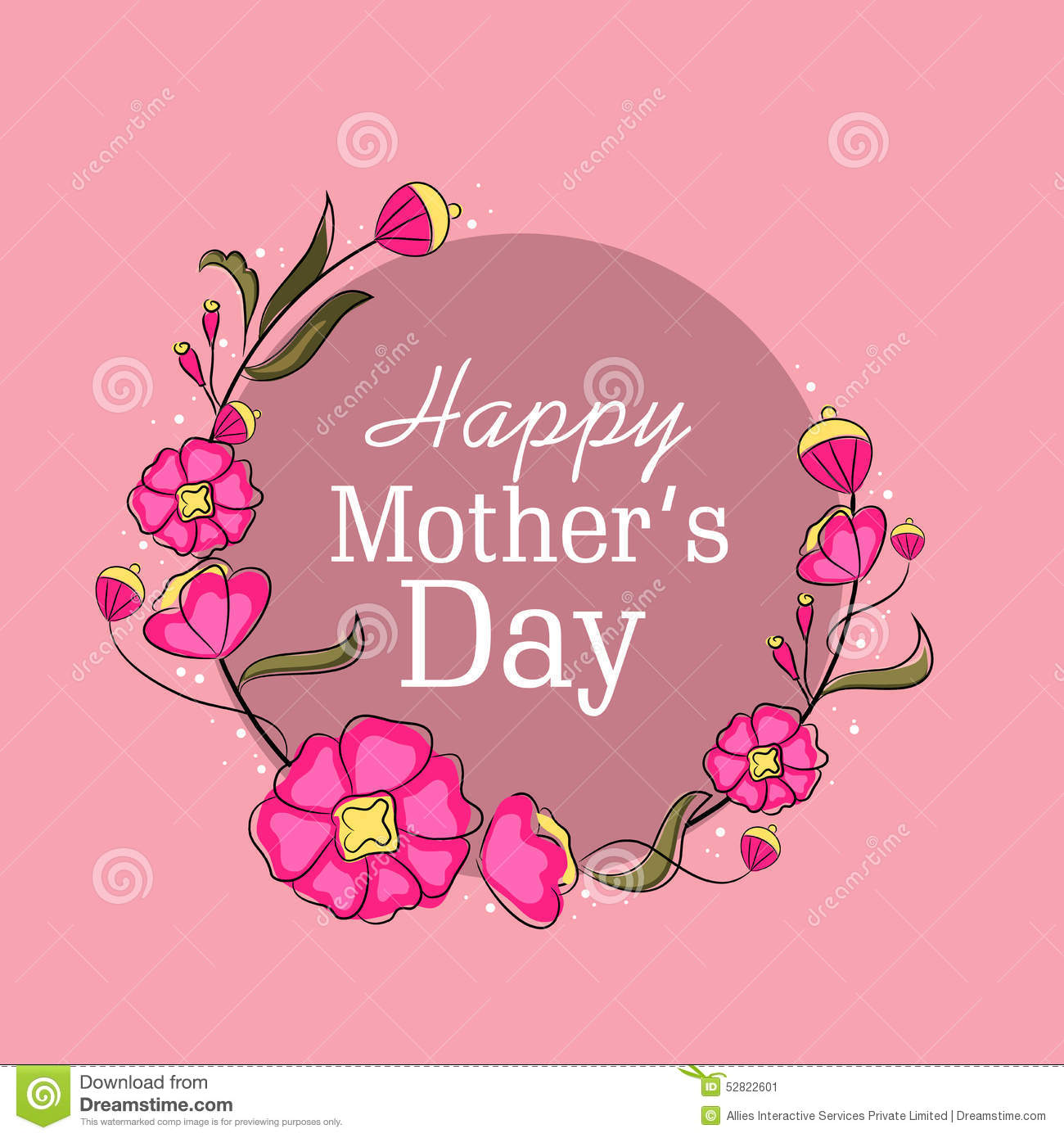 Greeting Card Design For Happy Mothers Day Celebration Stock