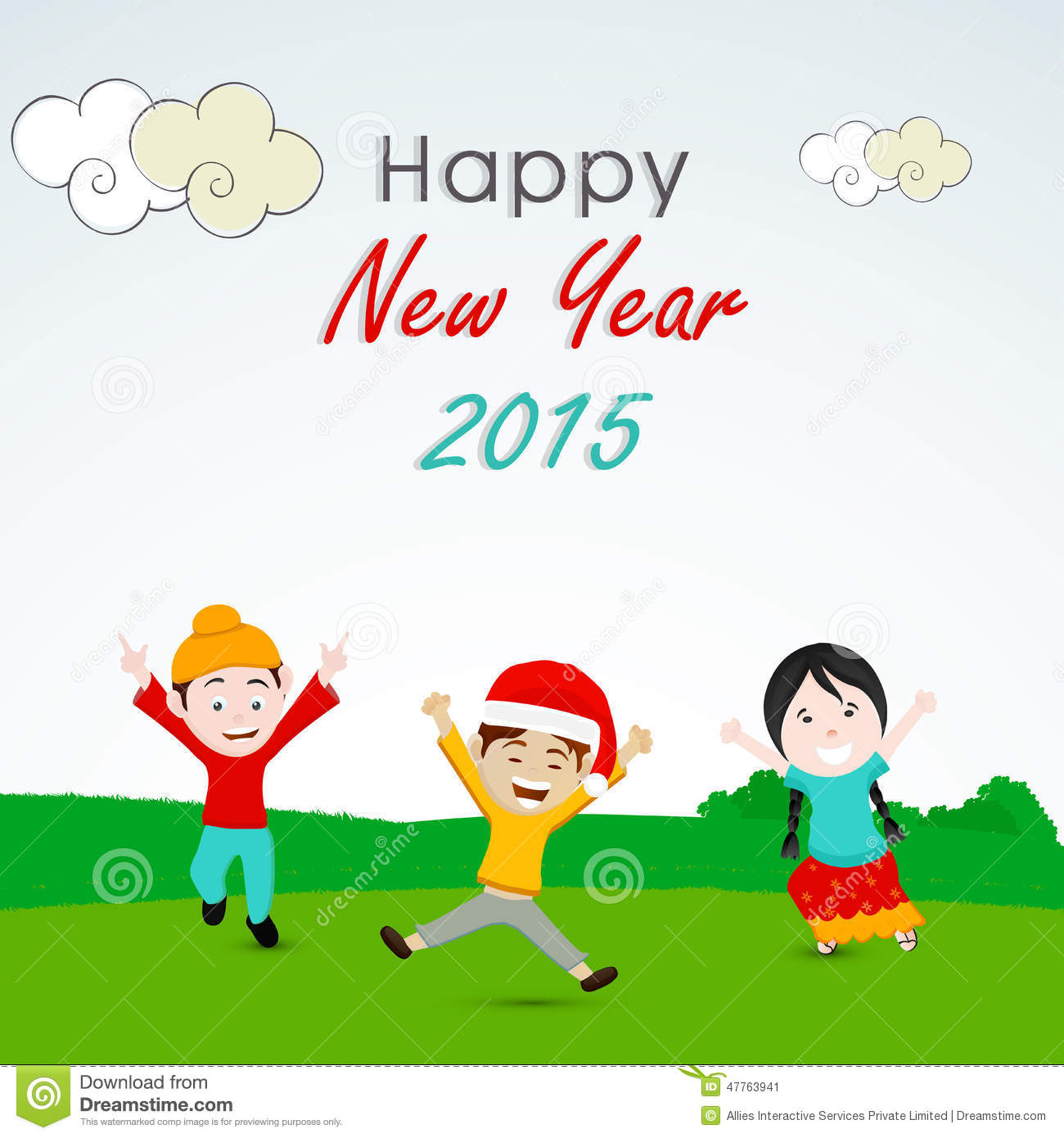 greeting card design for happy new year 2015 celebrations