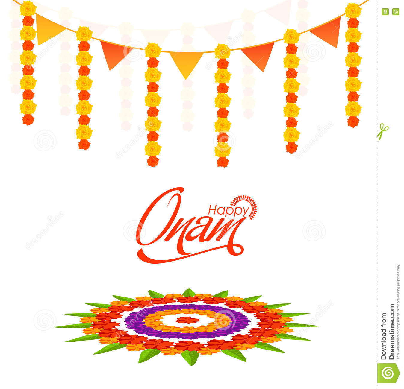 Greeting Card Design For Happy Onam Stock Illustration
