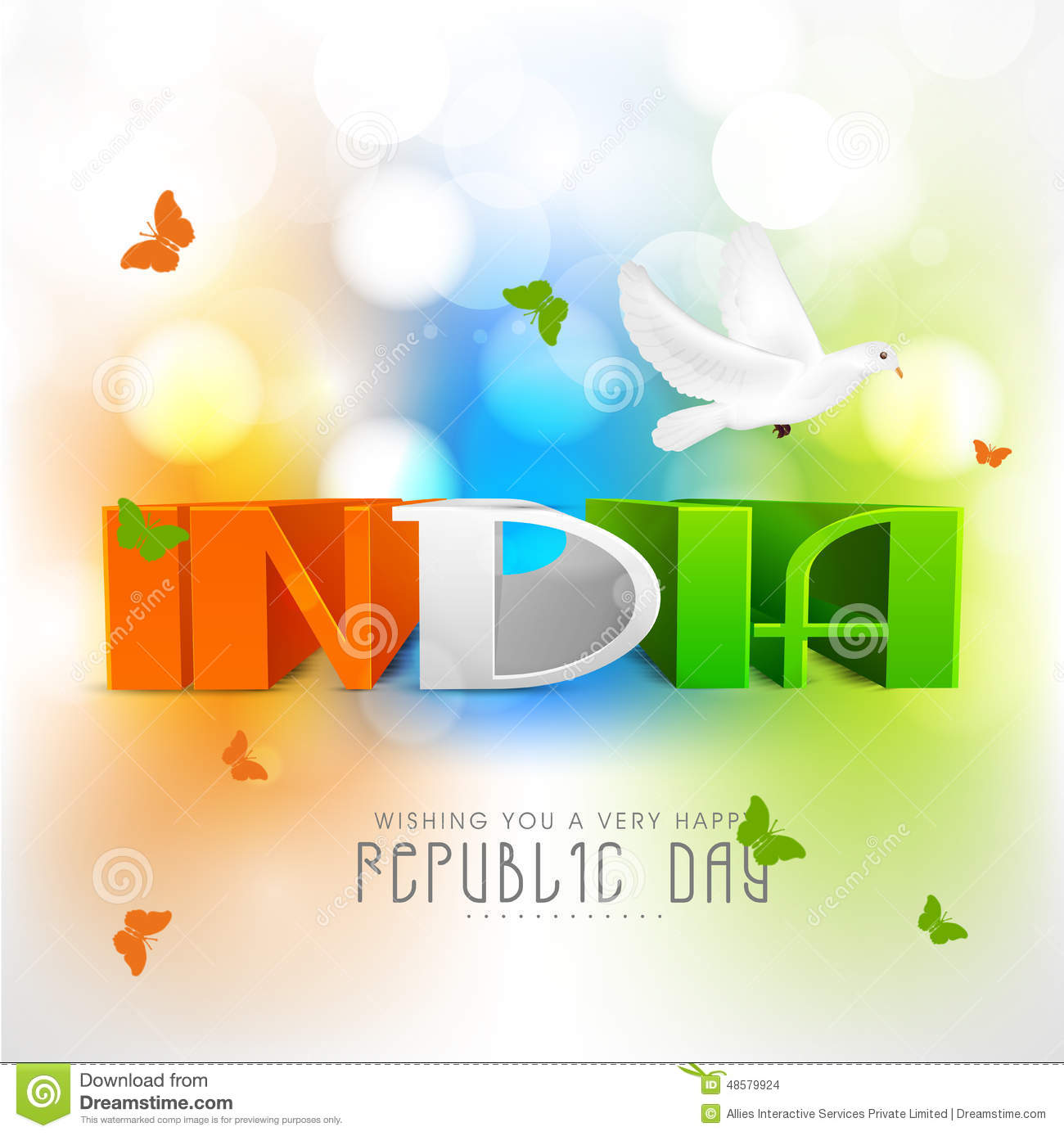 Greeting Card Design For Indian Republic Day Celebration Stock
