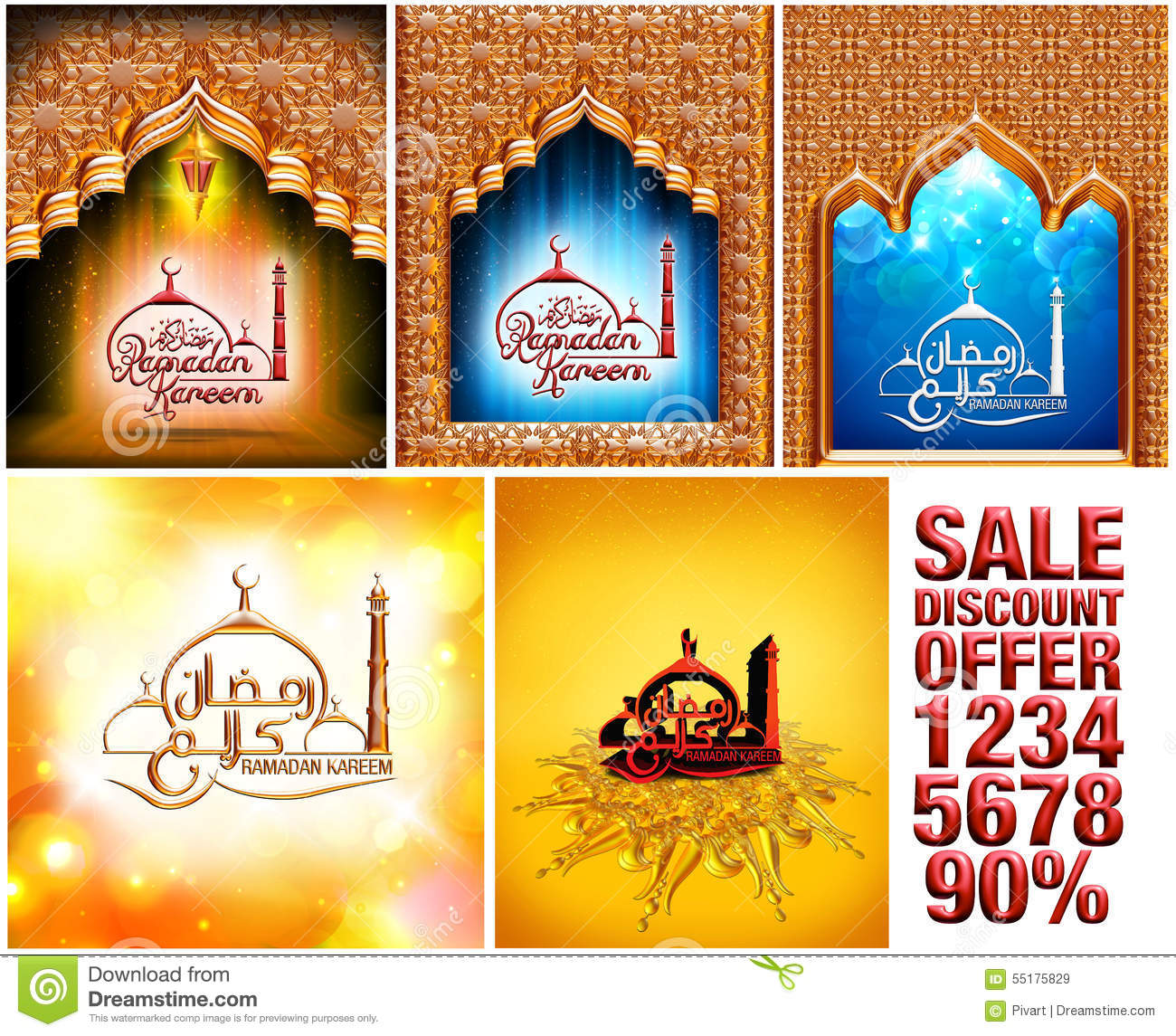 Greeting Card Design Of Mosque And Stylish Text Ramadan Kareem In 3d