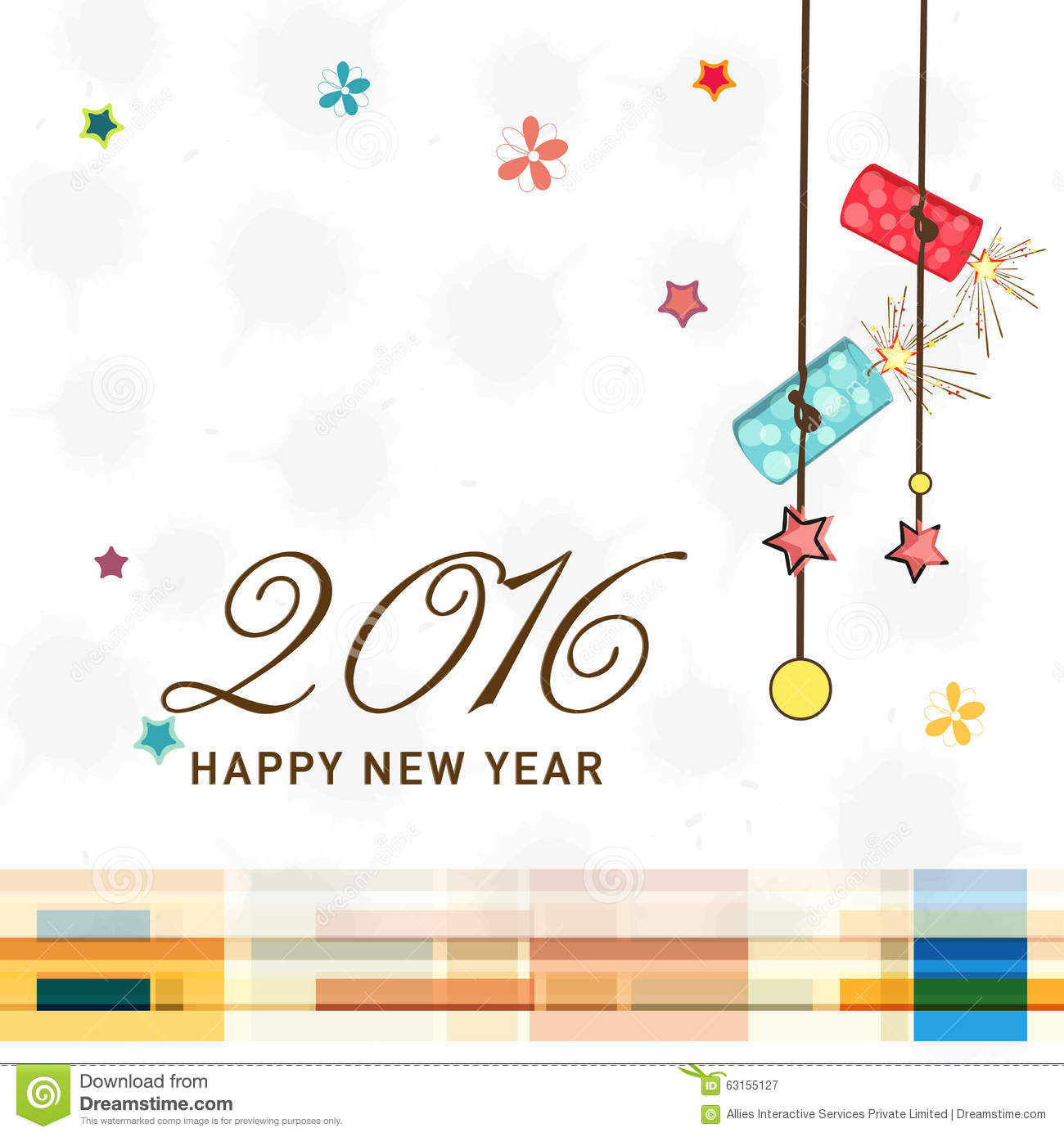 Greeting Card Design For New Year 2016 Celebration. Stock ...