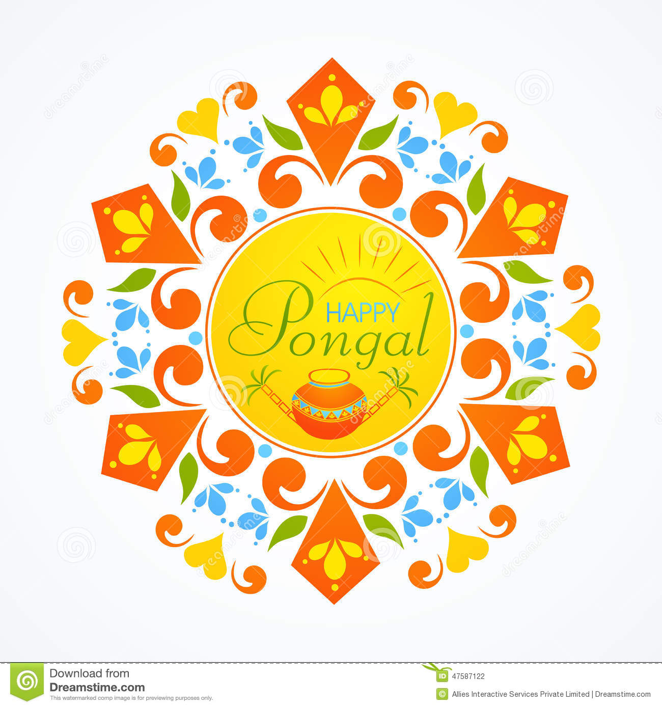 Greeting Card Design For Pongal Festival Celebrations Stock